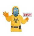 man in yellow protective costume and gas mask vector image vector image