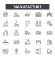 manufacture line icons signs set linear