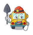 miner school bus mascot cartoon vector image vector image