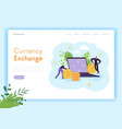 mobile currency exchange landing page template vector image vector image