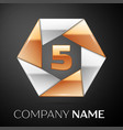 number five logo symbol in the colorful hexagon on vector image vector image