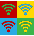 Pop art Wi Fi icons vector image