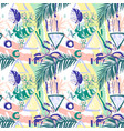 seamless pattern tropical birds palms flowers vector image vector image