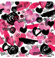 seamless pattern with watercolor heart in memphis vector image vector image