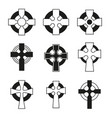 set celtic crosses for religious design vector image