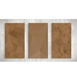 Set of brown wrinkled stylized paper on wooden vector image