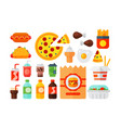 Set of colorful cartoon fast food icons isolated