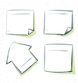 set of hand drawn paper stickers in sketch style vector image