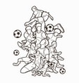 soccer player team composition outline vector image vector image