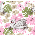 Summer pattern swans and tropical flowers vector image vector image
