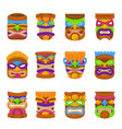 tiki hawaii mask icon set on white background vector image