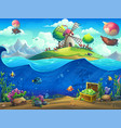 undersea world with airship on island vector image vector image