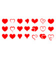 valentines day hearts icon set vector image
