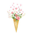 watercolor creative hand painted bouquet vector image