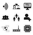 wireless app icons set simple style vector image vector image