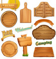 wooden sign set template for logo emblem 3d vector image