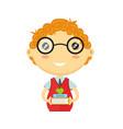 happy fun schoolboy with books vector image