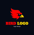 bird logo icon design angry eagle red vector image