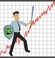 businessman with sword and shild on graph vector image