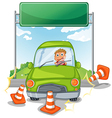 An accident at the road near the empty signboard vector image vector image