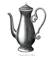 antique engraving moka pot black and white vector image vector image