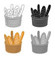 Basket of baguette icon in cartoon style isolated vector image
