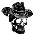 black silhouette spooky cowboy skull character vector image vector image
