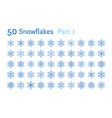 blue snowflakes collection isolated on white vector image