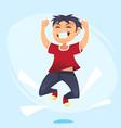 cartoon character happy school cute boy jumping vector image vector image