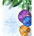 christmas baubles with fir branches vector image vector image