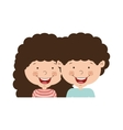 couple of children half body and curly hair vector image vector image