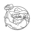 cowboy wild pig holding barbecue steak drawing vector image