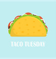 cute cartoon mexican tacos isolated vector image vector image