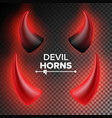 devils horns red luminous horn realistic vector image