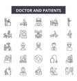 doctor and patients line icons signs set vector image vector image