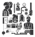 engineer and equipment icons vector image vector image