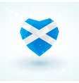 Flag of Scotland in shape diamond glass heart vector image vector image