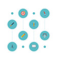 flat icons compass science arrow and other vector image vector image