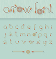 font alphabet shaped like archery arrows vector image vector image