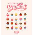 happy birthday cute cupcake set vector image vector image
