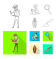 isolated object of story and items icon set of vector image vector image