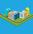 isometric city design houses buildings vector image