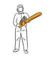 man holding chainsaw with safety vector image vector image