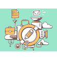 mechanism with pencil and office icons on vector image