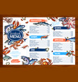 menu for seafood or fish seafood restaurant vector image vector image