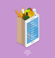 mobile grocery list flat isometric concept vector image