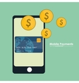 mobile payment smartphone credit card currency vector image vector image