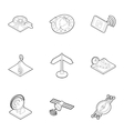 Navigation icons set outline style vector image vector image