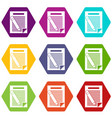 paper and pencil icon set color hexahedron vector image vector image