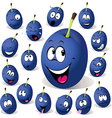 plum cartoon with many facial expressions vector image vector image